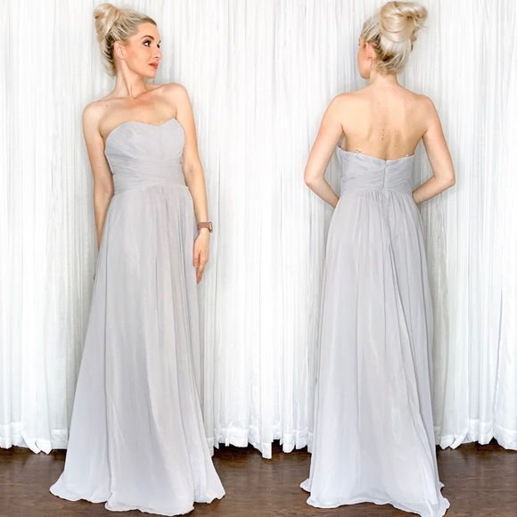 Let's Dresses & Skirts - Grey Silver Strapless Long Bridesmaid Dress